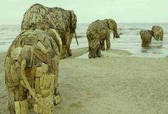 Andries Botha's wood and iron, life sized elephants in De-Panne, Belgium.