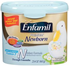 Enfamil Newborn Infant formula Tub, Through 3 Months, 23.4-Ounce - List price: $27.33 Price: $23.69 + Free Shipping