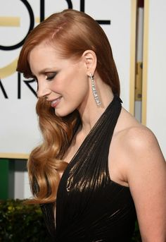 I want pretty: Celebrity-Golden Globes 2015 Red Carpet! Jessica Chastain.