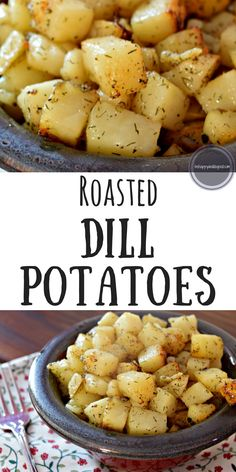 Roasted Dill Potatoes make the perfect side dish for any meat! They are slightly crunchy, with a hint of garlic and dill. These are our daughter's favorite potatoes! Dinner Side Dishes, Potato Side Dishes, Dinner Sides, Vegetable Side Dishes, Vegetable Recipes, Dill Recipes, Potato Recipes, Meat And Potatoes Recipes, Bread Recipes