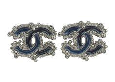 Chanel Dark Blue Enamel CC Logo Crystal Earrings