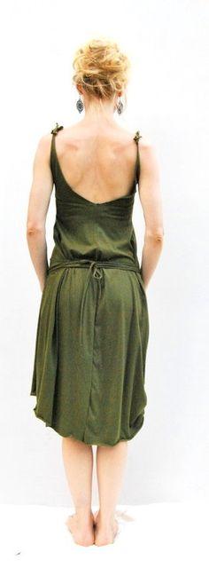 Organic Cotton Day Dress in deep Jade Green by ELKandINA from Brisbane