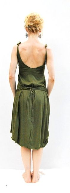 Organic Cotton Day Dress in deep Jade Green by ELKandINA from Brisbane