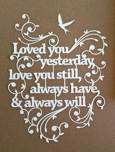 Papercut TEMPLATE 'Love you still' Papercut Design by TommyandTillyDesign