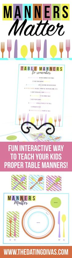 Love this cute way to teach my kids proper table manners! Such a cute and fun interactive family date night!! - Printables designed by www.cutifycreative.com - The Dating Divas