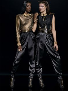 Balmain x H&M black and gold accent looks.