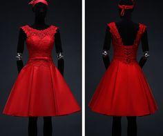 L390-Fashion-Red-lace-formal-short-evening-dress-dinner-party-wedding-bridesmaid
