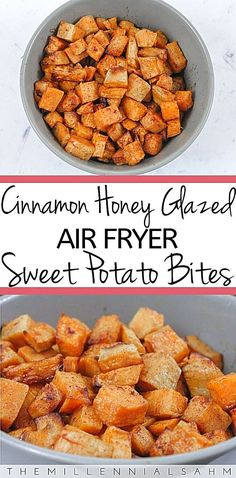 potato recipes These Cinnamon Honey Glazed AIr Fryer Sweet Potato Bites are a super quick, easy side that goes with any meal! Toddlers love them too! Air Fryer Oven Recipes, Air Frier Recipes, Air Fryer Dinner Recipes, Air Fryer Recipes Potatoes, Air Fryer Recipes Vegetables, Air Fryer Recipes Vegetarian, Sweet Potatoe Bites, Potato Bites, Air Fryer Sweet Potato Fries