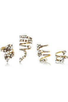 Erickson Beamon Fairy Made set of four gold-plated, Swarovski crystal and Swarovski pearl rings | NET-A-PORTER