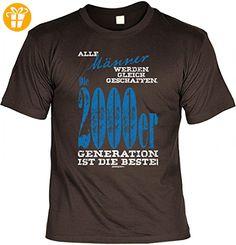 Jahrgang Shirt - Männer gleich geschaffen 2000 - bedrucktes T-Shirt mit Motiv als Geschenk zum Geburtstag in Braun, Größe:M (*Partner-Link)