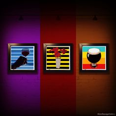 """Gallery: Go series (left to right) """"Cheers"""", """"Power Red"""" and """"Shout for Stout"""" (2015) 12 x 12 inch. Digital art - Giclee print on enhanced matte paper with glass framed. Stain black, 14 x 14 inch. Signed by Jon Savage -------------------------- #art #artist #popart #popartist #digitalart #contemporary #contemporaryart #cmyk #classic  #wine #beer #flowers  #sandiego #california #jonsavagegallery"""