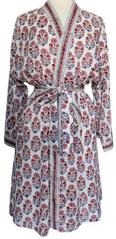 Boho chic Anokhi Mughal style Floral Block print Indian Cotton Gown Kimono Robe