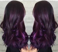 Elegant dark purple ombre hair color idea, love this style so much