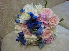 White, pink, and blue bouquet.  Not perfect, but getting there.