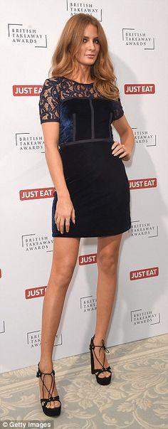 She's in fashion: Millie, chose a dress from her own clothing collection for the star-studded night out, with the midnight blue number fitting her svelte figure perfectly Millie Mackintosh, Blue Velvet Dress, Made In Chelsea, Black Strappy Heels, Lbd, Midnight Blue, Put On, Night Out, Peplum Dress