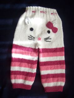 MADE to ORDER Hello Kitty Pants Knit Hello by MIMIARfashion – Knitting patterns, knitting designs, knitting for beginners. Baby Knitting Patterns, Baby Patterns, Free Knitting, Hello Kitty, American Girl, Baby Pants, Toddler Pants, Knit Pants, Plaid Pants