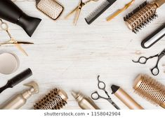 Various Hair Dresser Tools On Wooden Background With Copy Space Stock Image - Image of haircare, beauty: 123969993 Hair Salon Quotes, Hair Salon Logos, Hair Quotes, Hair Salons, Hairdresser Quotes, Hairstylist Quotes, Hair Salon Interior, Salon Art, Hair Photography