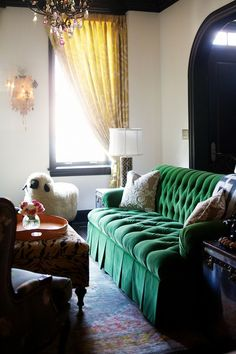 Could we reuse bill's tufted sofa for his library? Tufted green velvet sofa - love the skirt. Decor, Room, Home, Emerald Green Rooms, Green Velvet Sofa, Green Tufted Sofas, Tufted Sofa, Hunted Interior, Amber Interiors Design
