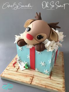 by Cakes By Samantha (Greece) Rudolph Gift Box Cake! by Cakes By Samantha (Greece)