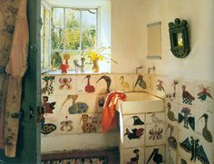 Marguerite 'Guidette' Carbonell (1910-2008), hand-painted bathroom tiles