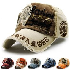 14e5a446185 Men Women Baseball Cap Letters Embroidery Peaked Cap Denim Distressed Hat  Retro
