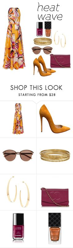 """""""how to dress in a heat wave☀"""" by princessnini10 ❤ liked on Polyvore featuring Emilio Pucci, Christian Louboutin, Witchery, Lana, Chanel and Gucci"""