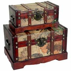 """Stow beloved memorabilia in classic style with these antique-inspired trunks. Showcasing an Old World atlas motif and beautifully crafted frame, this handsome display brings vintage appeal to your mantle, coffee table, or credenza.          Product: Small and large trunk    Construction Material: Polywood and faux leather      Color: Multi   Features:   Old fashioned hardware adds antique look   Can be used for storage or decoration        Dimensions:    Small: 4.5"""" H x 9"""" W x 5…"""