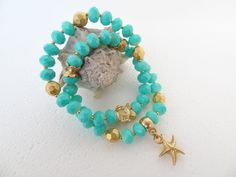 Set of Two Bracelets,Turquoise Crystal Beads Bracelet,Gold Fish Star Bracelet,Charm Bracelet,Elegance Bracelet,Gift for Her,Christmas Gifts by sevinchjewelry on Etsy
