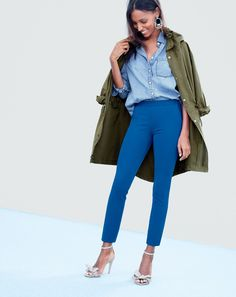 MAR '15 Style Guide: J.Crew women's chambray pocket shirt, fishtail anorak coat, Martie pant, rope cord earrings, and metallic linen bow high heels.
