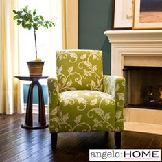 @Overstock - This angelo:HOME Sutton accent chair was designed by Angelo Surmelis that combines modern lines with traditional details. The Sutton chair has slightly flared arms and is covered in a beautiful vine