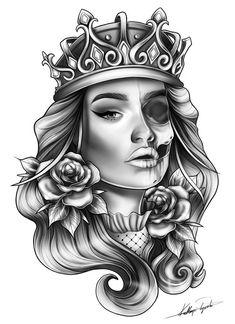 queen half sleeve custom tattoo design idea b.- Skull femanine queen half sleeve custom tattoo design idea by Skull femanine queen half sleeve custom tattoo design idea by – - femanine queen half sleeve custom tattoo design idea b. Chicano Tattoos, Wolf Tattoos, Skull Tattoos, Body Art Tattoos, New Tattoos, Girl Tattoos, Tattos, Henna Tattoos, Tattoo Designs