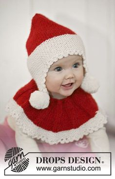 Baby Noel / DROPS Baby - Set of knitted Santa hat and neck warmer for baby and children in 2 threads DROPS Alpaca Bonnet Crochet, Crochet Poncho, Knit Or Crochet, Crochet For Kids, Crochet Hats, Free Crochet, Knitting For Kids, Baby Knitting Patterns, Baby Patterns