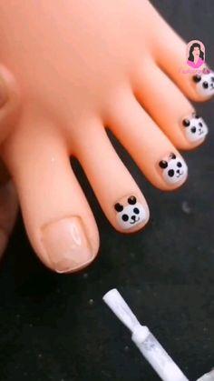 Panda Nail Art, Toe Nail Art, Toe Nails, Acrylic Nails, Baby Nail Art, Baby Nails, Trendy Nail Art, Stylish Nails, Nail Art Designs Videos
