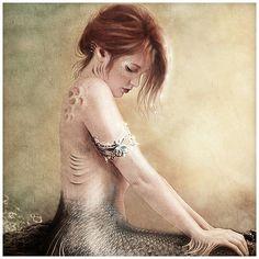 SALE Sea Faerie Mermaid Art Print 8 X 16 inch by GingerKellyStudio, $20.00