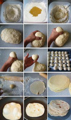 Tortitas de harina *Para 35 tortitas 1 kg de harina (+ 1 taza para la superficie) 1 + 1/2 taza de aceite de girasol 1 cucharada de levadura 2 cucharadas de sal 1 + 1/2 de agua templada