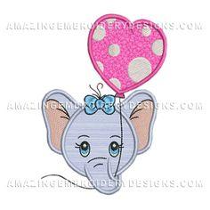 elephant head with heart balloon applique