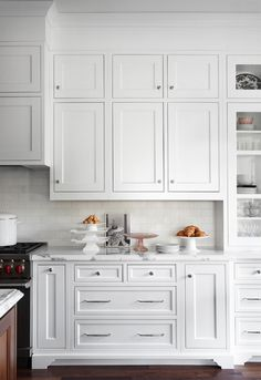 stacked cabinets