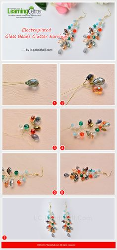 Electroplated Glass Beads Cluster Earrings - The main materials of the earrings are drop and round glass beads. The making way is to thread the beads onto a wire and wrap wires. The earrings have bright colors that will highlight your looks. Jewelry Making Beads, Glass Jewelry, Wire Jewelry, Jewelry Crafts, Beaded Jewelry, Jewelery, Glass Beads, Small Gold Hoop Earrings, Cluster Earrings