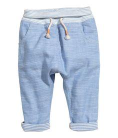 Pantalón en mezcla de lino | Azul jaspeado claro | Kids | H&M MX