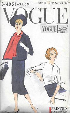4851 VINTAGE VOGUE SPECIAL DESIGN SUIT & BLOUSE Pattern UNCUT Sz 14 from 1957