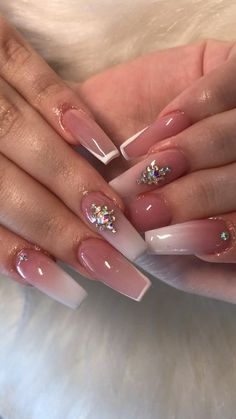 Pink Nail Art, Summer Acrylic Nails, Best Acrylic Nails, Summer Nails, Green Nails, Purple Nails, Gel Ombre Nails, Classy Nails, Trendy Nails