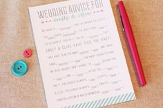 Wedding Mad Libs: Wedding Advice for Bridal Shower PDF Digital DIY ...