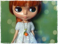 BLYTHE, YoSD BJD Necklace, Jewelry, Pendant, Pure Neemo,Licca,Takara,Pullip,Dal, 1/6 bjd, dollfie - Orange In Green #13 by MPdollWorld on Etsy
