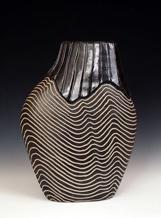 """Overlap Shoulder Pot"" Ceramic Vessel Larry Halvorsen Coil built stoneware vessel with surface carving."