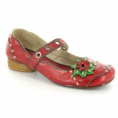 Yoma 209-3 Jessica Womens Leather Low Mary Jane Shoes - Red