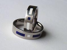 Titán karikagyűrű kék-fehér colorit berakással Rings For Men, Jewelry, Men Rings, Jewlery, Jewerly, Schmuck, Jewels, Jewelery, Fine Jewelry