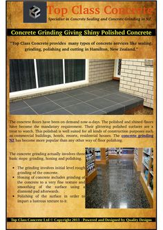 A term 'diamond pad' is mentioned above. process calls for a kind of polishing pad used to polish the concrete floors. The diamond pads come with different names, prices and characteristics. Types Of Concrete, Polished Concrete, Grinding, Concrete Floors, New Zealand, Names, Construction, Flooring, Diamond