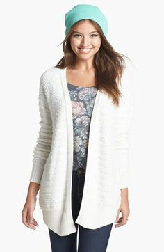 Rubbish® Split Back Knit Cardigan (Juniors) available at #Nordstrom in TAUPE/NUTMEG I really want a big comfy sweater in off white or a beige-like color! this one is reeeally comfy (I tried it on) but it's almost too pure white...I still like it but maybe try to find a different one? to be safe definitely get this one unless you find a different one you think I would like better!