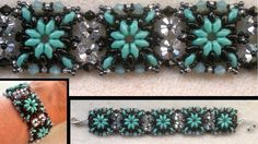 Beading4perfectionists : Superduo connected with Swarovski beaded bracelet beading tutorial