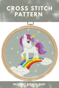Valentines Gift, Her and His gift Unicorn Cross Stitch Pattern, Baby Cross Stitch Patterns, Cross Stitch Baby, Needlepoint Patterns, Easy Cross, Simple Cross Stitch, Digital Pattern, Cross Stitching, 19 Kids